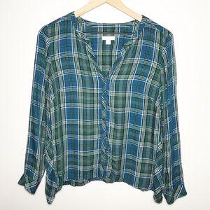 J Jill Sz SP V Neck Plaid Long Sleeve Button Shirt